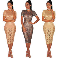 Fashion Women short sleeves perspective bodycon clubwear party cocktail dress