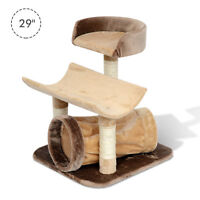 """29"""" Cat Tree Scratching Post w/ Tunnel Cat Bed Tower House Pet Furniture"""