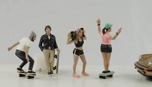 Skateboard Figurine Set 4 Woman Mann Cool 1:24 American Diorama No Car