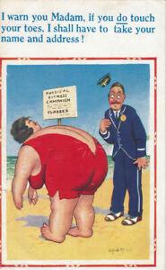 UK Seaside Comic Donald McGill D.CONSTANCE LTD Postcard No 745 Physical Fitness
