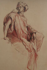 Antique European Old Master drawing, Charcoal Figure study, Museum Fine art