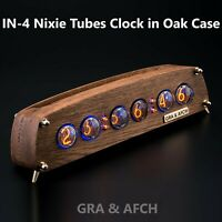 IN-4 Nixie Tube Clock Oak Vintage Wooden Case Slot Machine 12/24H FREE SHIPPING