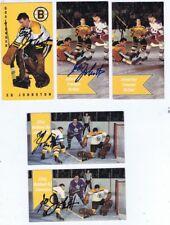 5 ED EDDIE JOHNSTON SIGNED 1965 PARKHURST HOCKEY CARDS  Penguins - Boston Bruins