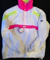 Vintage 1985 CB Sports Ski Jacket XL Fluorescent Coat 1980's Pullover White Pink