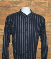 Rocawear Mens Button Front Shirt Size XL Black White Striped Collar Long Sleeve