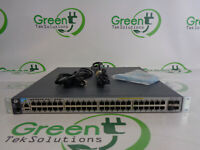 HP J9574A 48-Port 1G POE+ 4x SFP+ Port Layer 3 Switch w/ 2x Power Supplies Ears