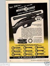 1960 PAPER AD Weaver Rifle Gun Scopes Telescope Model B4 B6 Tip Off Mount