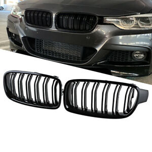 Gloss Black For BMW F30 F31 2012-2018 3 Series Twin FIns Front Bumper Grille