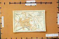 Original Old Antique Print 1906 Map Street Plan Town Hereford England River Wye