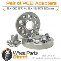 PCD Adapters (2) 5x100 57.1 to 5x112 57.1 20mm for Audi TT Mk1 [8N] 98-06