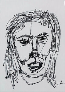 """ACEO original WOMAN in continuous line drawing grin by Lynne Kohler 2.5x3.5"""""""