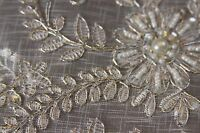 Gold White Silver Embroidery Beaded Placemat Runner Wedding Victorian Decor