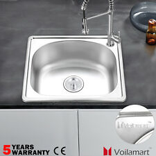 Voilamart Stainless Steel Catering Sink 500x416mm Laundry Kitchen Single Bowl