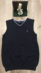 Polo RALPH LAUREN Youth/Boys M Navy Blue V-Neck Cable Knit Sweater Vest Cotton