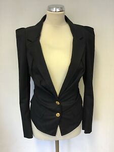 VIVIENNE WESTWOOD RED LABEL NAVY BLUE WOOL PLEATED FITTED JACKET SIZE 40 UK 8