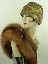 VINTAGE HAT ORIG 1920s CLOCHE SHIMMERING GOLD & MULTI COLOUR SOUTACHE EMBROIDERY