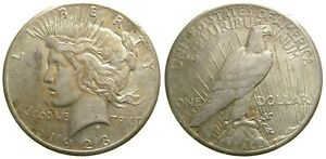 United States Silver Peace Dollar 1928 Toned EF Key Date Low Mintage 360,000