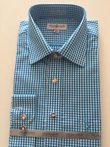 Karohemden Trachten Freizeithemd Hemden Herren Hochzeit Blau M oder 2XL Almsach