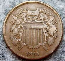 UNITED STATES 1865 2 CENTS, UNION SHIELD