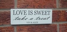 Wedding shabby vintage chic love is sweet mr & mrs Table Sign Plaque candy bar
