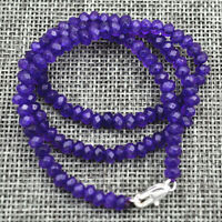 "New 2x4mm Faceted Brazilian Amethyst Handmade Gemstone necklace 18 ""Silver clasp"