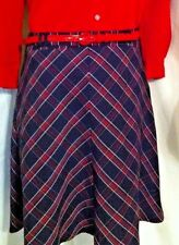 Vintage Tracy Evans ladies a line skirt red & black plaid patent leather belt
