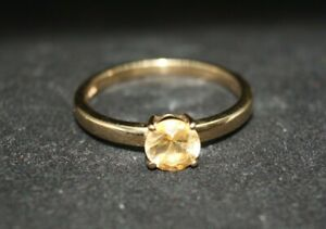 100% 9k Solid Gold 0.70ct Brilliant Cut Citrine Solitaire Ring Sz 8.75 or R