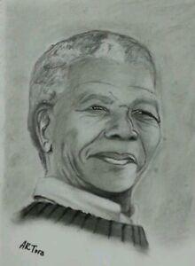 Nelson Mandela charcoal portrait/long walk to freedom/original artwork/leader