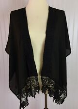 Haute Fox Black Cardigan Medium/Large Loose Fit Open Front Crocheted Lace