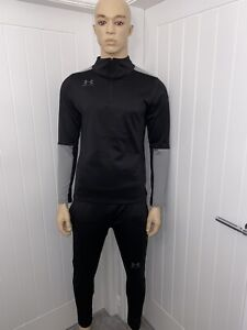 Under Armour Tracksuit 1/4 Zip Black/grey Long Sleeve Fitted Bnwt Medium 69.99