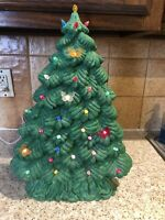 "Vintage18"" Ceramic Lighted Christmas Tree Thin & Tall Tree Peg Light Butterflies"