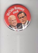 John McCAIN 2008 pin UNUSUAL Jugate pinback MITT ROMNEY Ticket NOT to be