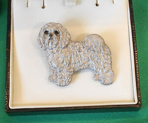 Fantastic jewellery Show Brooch Rare Breed - White Bolognese Dog