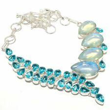 """Aqua Mystic Topaz, Blue Topaz Gemstone 925 Silver Jewelry Necklace 18"""" AQ-1283"""