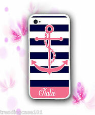 Personalized Pink Stripe Anchor Rubber Silicone Case For iPhone X 8 7 6 SE S9 S8