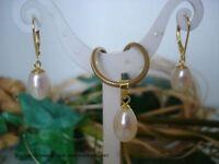 Ohrringe & Anhänger 925er Silber vergoldet, Echte Perle 8 x 12mm Weiß Tropfen