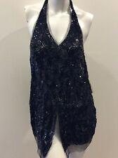 Dries Van Noten black sequin netting halter top New sz 40 or 8 retail $1055