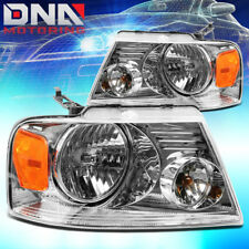 FOR FORD F150/F-150 2004-2008 EURO CHROME TINT HOUSING CRYSTAL AMBER HEADLIGHTS