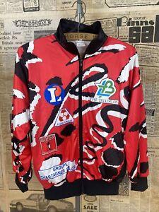 VINTAGE Cycling Sports Jersey Track Unisex Fleece Red Retro Zip Jacket Top S