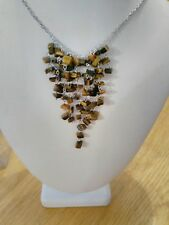 BN designer style silver metal + brown glass bead cluster necklace + bracelet