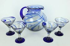 Set of Hand Blown Glass Mexican Margarita Martini Blue Swirl Pitcher + 4 Glasses
