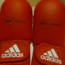 Authentic ADIDAS WKF KARATE MITTS with THUMB Red Competition Sparring Gloves M