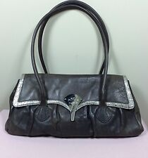 KENZO PARIS Damen Tasche Braun Leder Vintage Look Bag Tragetasche Boho Style Sac