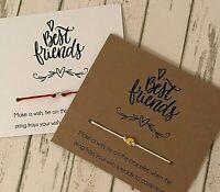 Vintage Inspirational Wish String Charm Card Best Friends Friendship Bracelet 47