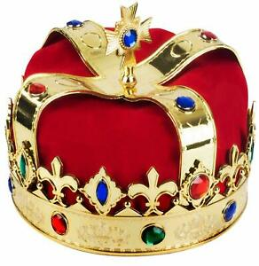"""King Crown Halloween Costume for Adult and Kids Approx 7"""" diameter"""