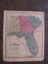 1853 ORIGINAL  Pre Civil War Map of Florida, Georgia, Alabama, South Carolina