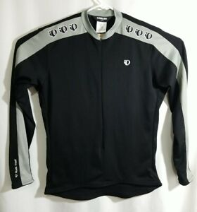 Pearl Izumi Cycling Bike Jersey Mens Large, Black Gray, Long Sleeve, Polyester