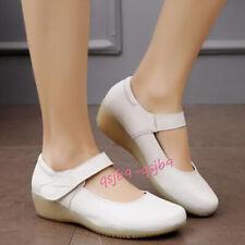 New Nurse Leather Wedge Oxfords Nursing Comfort Shoes Buckle Hospital Work Shoes