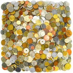 30 PIECES OF DIFFERENT TYPE  FOREIGN MIXED WORLD COINS LOT + VELOUR MONEY BAG