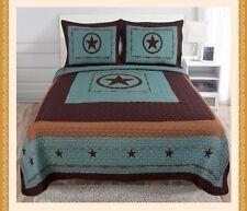 3 Piece Texas Western Star Design Quilt BedSpread Comforter TURQUOISE -(Queen)